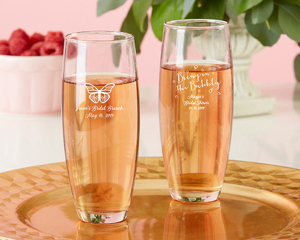 Personalized Stemless Champagne Glass - Bridal Brunch