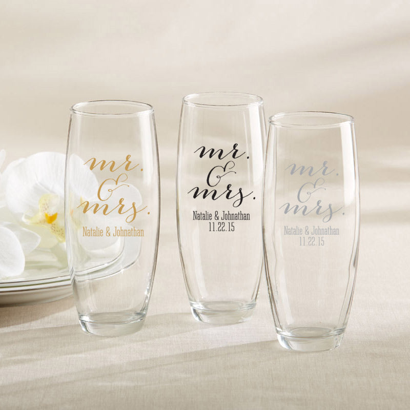 Personalized Mr. & Mrs. 9 oz. Stemless Champagne Glass