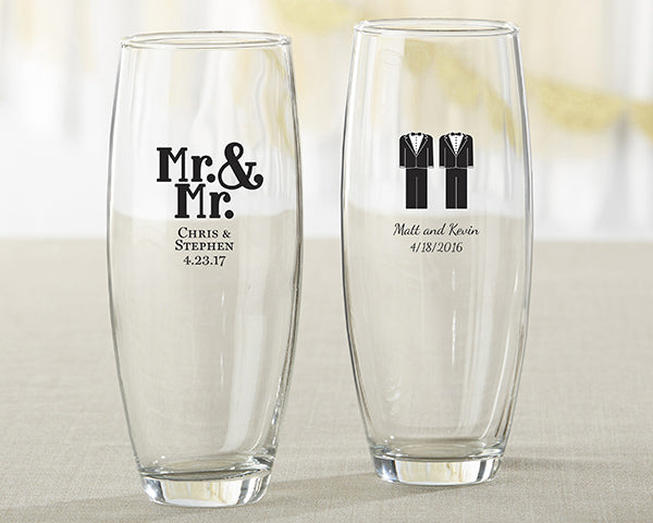 Personalized Mr. and Mr. 9 oz. Stemless Champagne Glass