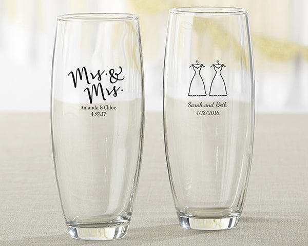 Personalized Mrs. & Mrs. 9 oz. Stemless Champagne Glass