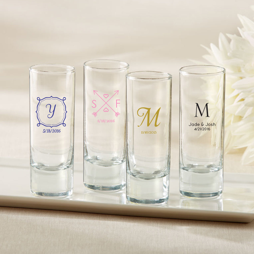Personalized Tall Shot Glass - Wedding