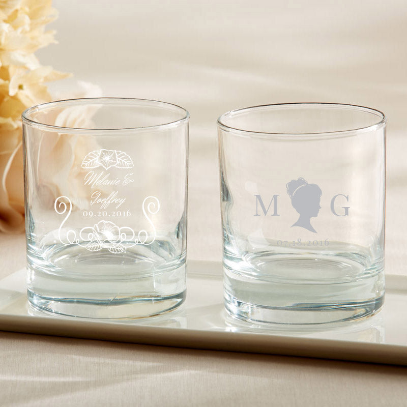 Personalized English Garden 9 oz. Rocks Glasses