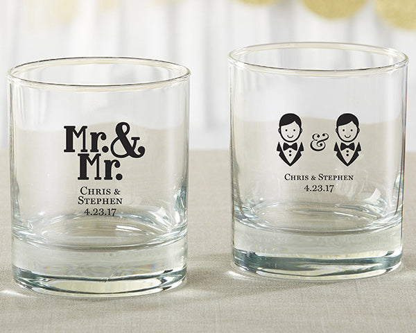 Personalized Mr. and Mr. 9 oz. Rocks Glass