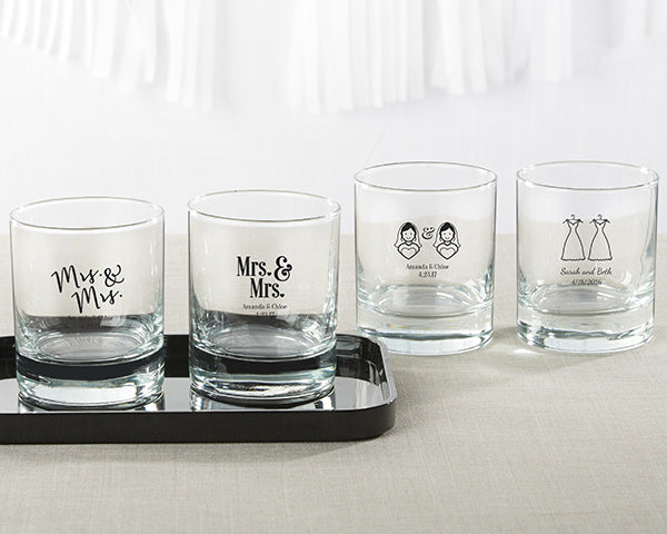Personalized Mrs. and Mrs. 9 oz. Rocks Glass