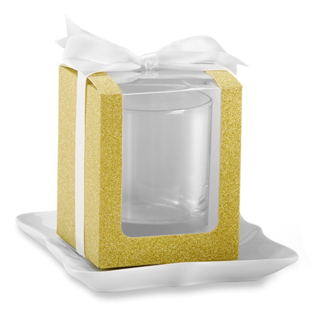 Gold 9 oz. Glassware Gift Box with Ribbon (Set of 12)