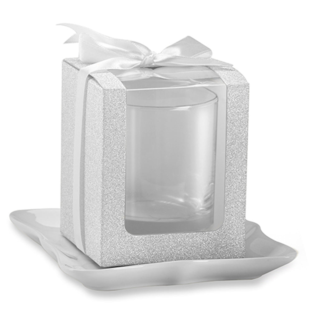Silver 9 oz. Glassware Gift Box with Ribbon (Set of 12)
