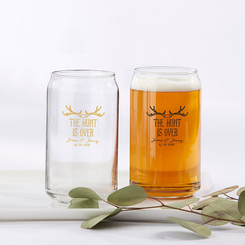 Personalized The Hunt Is Over 16 oz. Beer Can Glass