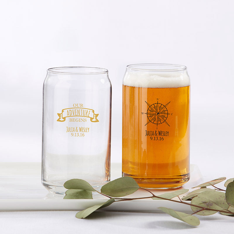 Personalized Travel & Adventure 16 oz. Beer Can Glass