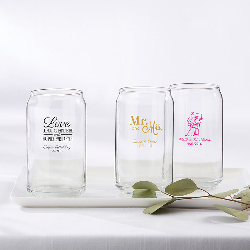Personalized Wedding and Bridal Shower Themed 16 oz. Beer Can Glass