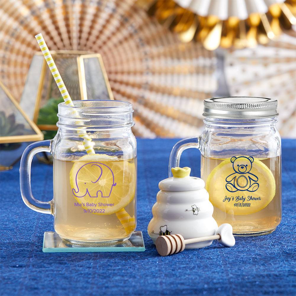 Baby Shower Party Favors Glass Baby Shower Favors Favors Personalized 12 Pieces Milk Jars DESIGN-MG21 Oh Baby Favors