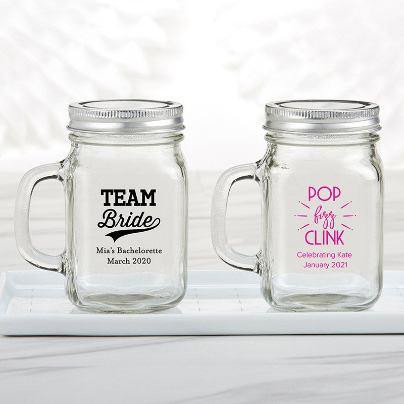 Personalized Bachelor & Bachelorette 12 oz. Mason Jar Mug