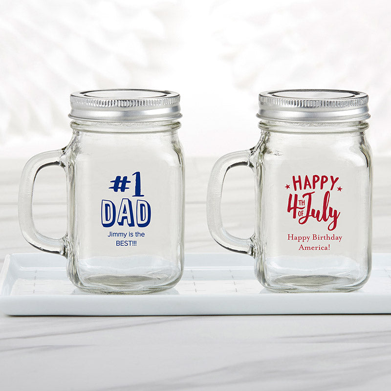 Personalized Holiday 12 oz. Mason Jar Mug