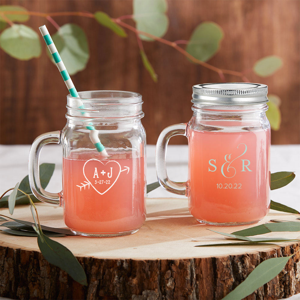 Load image into Gallery viewer, Personalized Monogram 12 oz. Mason Jar Mug with Lid