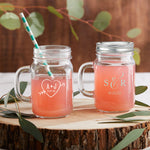 Personalized Monogram 12 oz. Mason Jar Mug with Lid