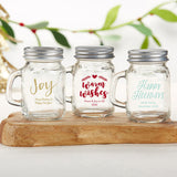 Personalized Holiday 4 oz. Mini Mason Mug Shot Glass with Lid