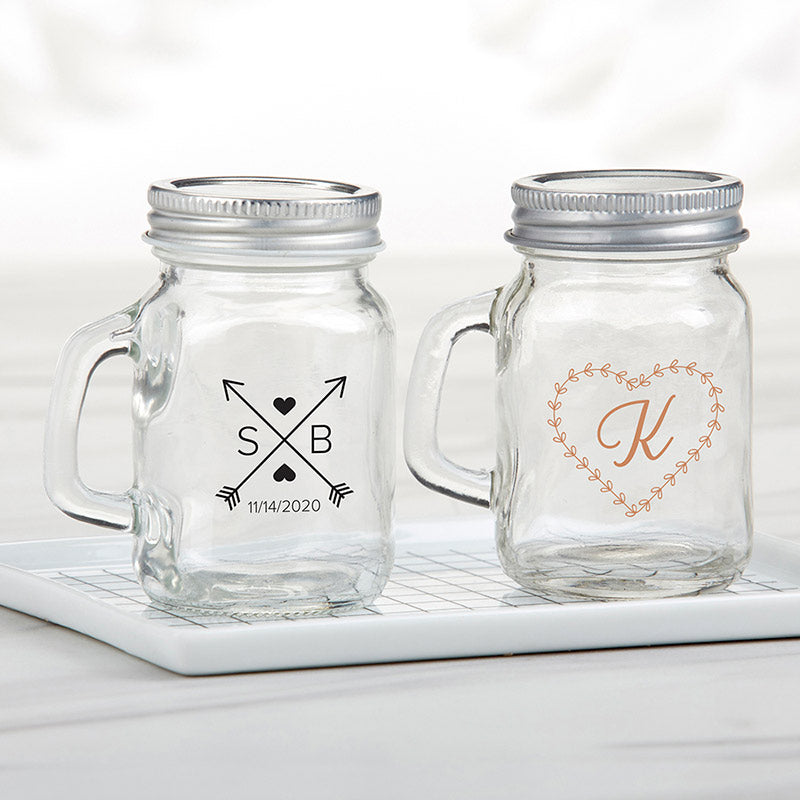 Personalized Monogram 4 oz. Mini Mason Mug Shot Glass with Lid