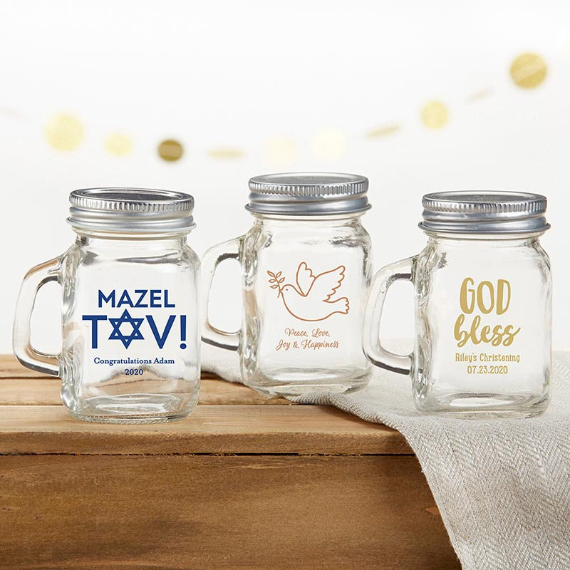 Personalized Religious 4 oz. Mini Mason Mug Shot Glass with Lid
