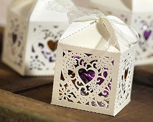 Ivory Ornate Heart Decorative Favor Box (Package of 25)
