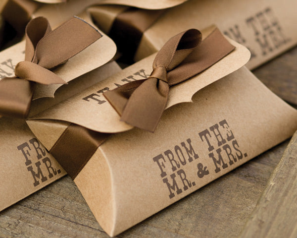 Western Style Kraft Pillow Box (Set of 25) | My Wedding Favors