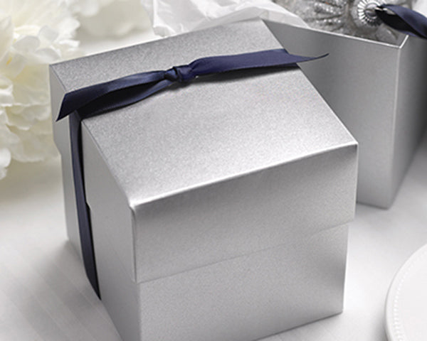 Two Piece Silver Shimmer Cupcake Box (Package of 25)
