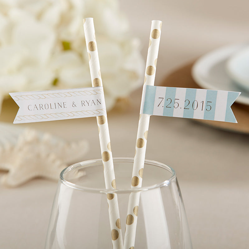 Personalized Party Straw Flags - Beach Tides