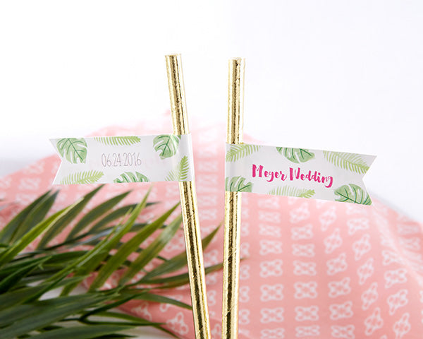 Personalized Pineapples & Palms Party Straw Flags