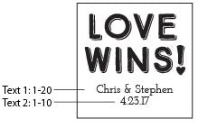 Personalized Love Wins 9 oz. Stemless Wine Glass