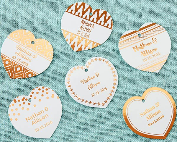 Personalized Heart Foil Tag - Copper (Set of 36)