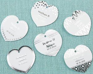 Personalized Heart Foil Tag - Silver (Set of 36)