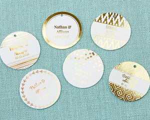 Personalized Circle Foil Tag - Gold (Set of 36)