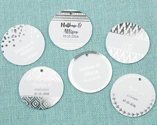 Personalized Circle Foil Tag - Silver (Set of 36)