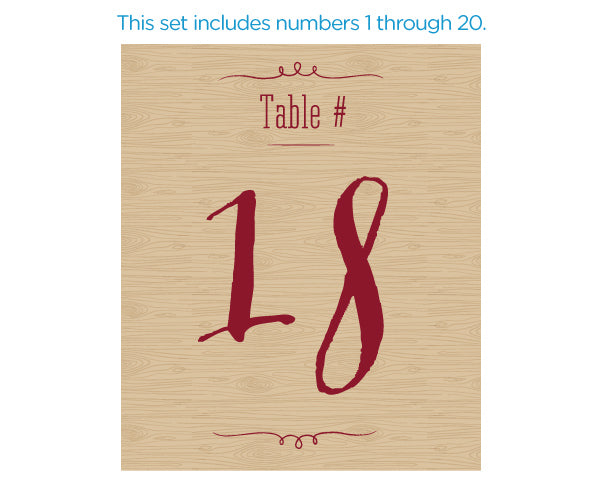 Vineyard Wine Label Table Numbers (1-20)