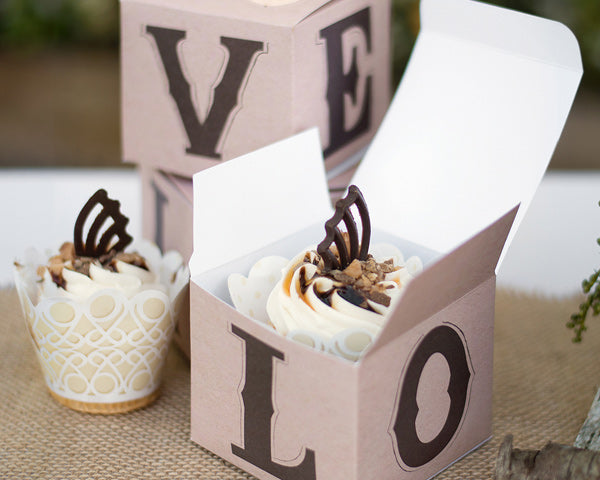 Rustic Love Cup Cake Box (Set of 25)