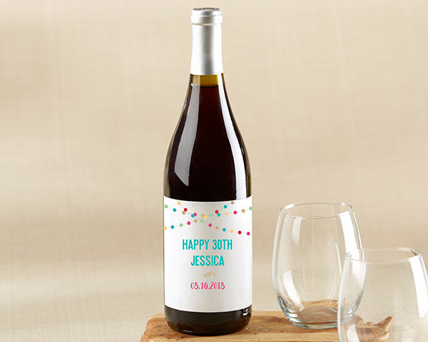 Personalized Party Time Wine Bottle Labels