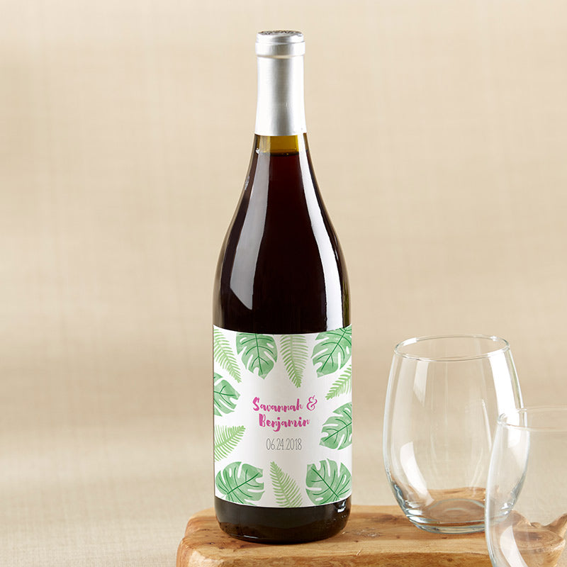 Personalized Pineapples & Palms Wine Bottle Labels