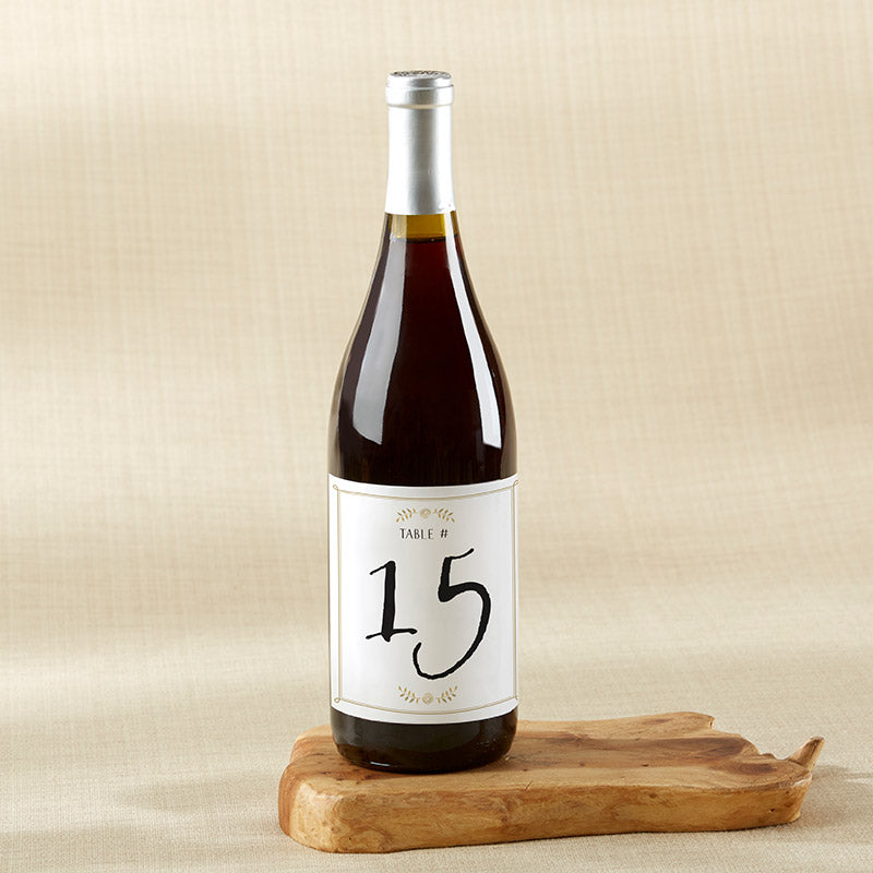 Classic Wedding Wine Label Table Numbers (1-20)