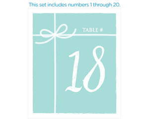 Something Blue Wine Label Table Numbers (1-20)