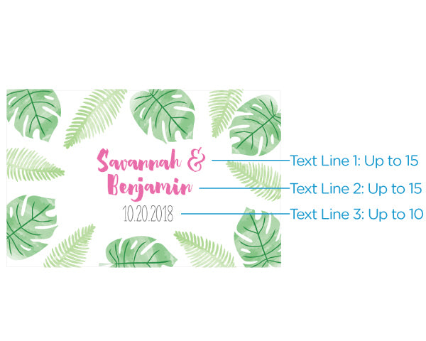 Personalized Pineapples & Palms Mini Wine Bottle Labels