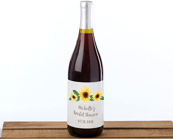 Personalized Sunflower Wine Bottle Labels