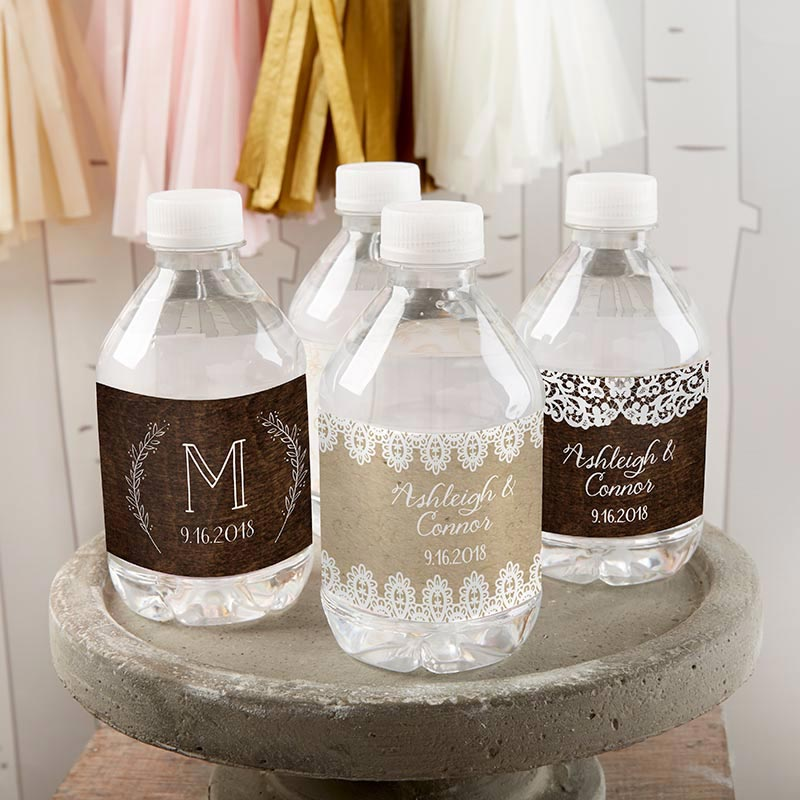 Personalized Rustic Charm Wedding Water Bottle Labels