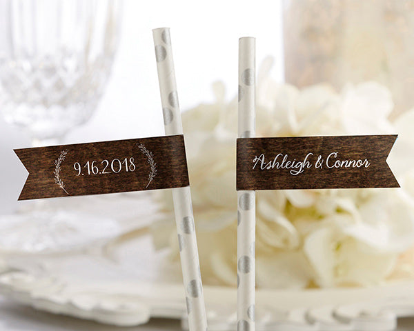 Personalized Rustic Charm Wedding Party Straw Flags