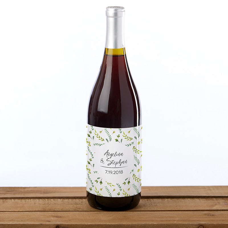 Personalized Botanical Garden Wine Bottle Labels