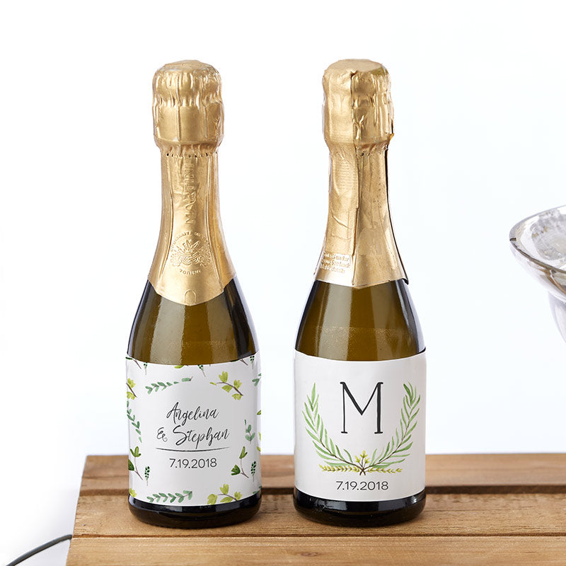 Personalized Botanical Garden Mini Wine Bottle Labels
