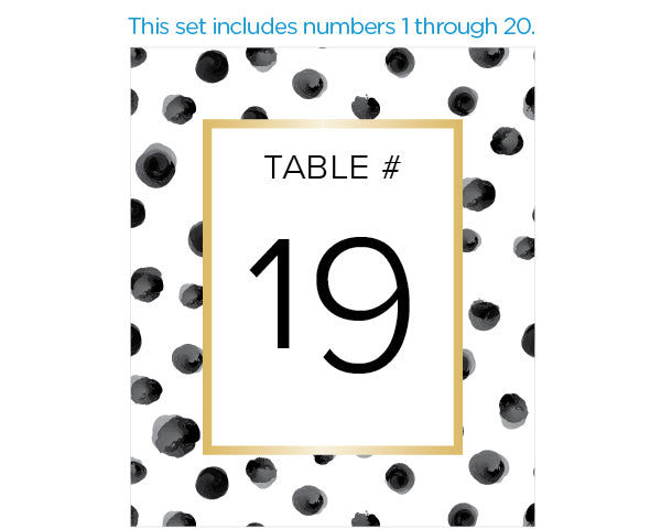 Modern Classic Wine Label Table Numbers (1-20)