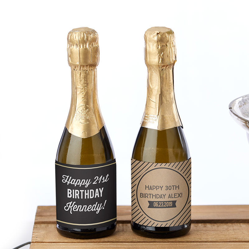 Personalized Boozy Birthday Mini Wine Bottle Labels
