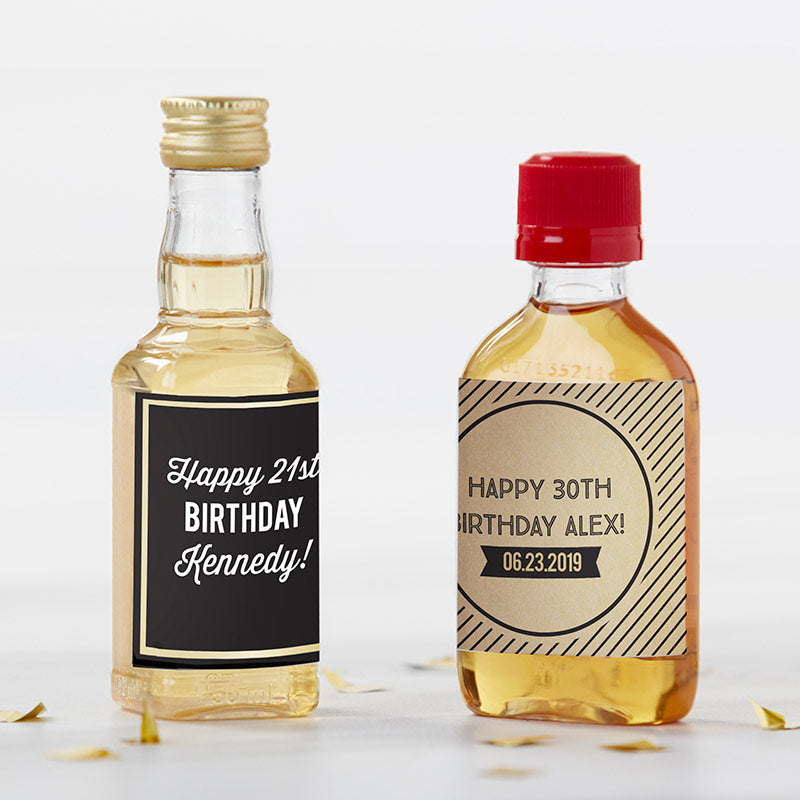 Personalized Boozy Birthday Mini Liquor Labels