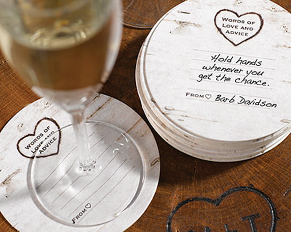 Love and Advice Woodgrain Coasters | My Wedding Favors
