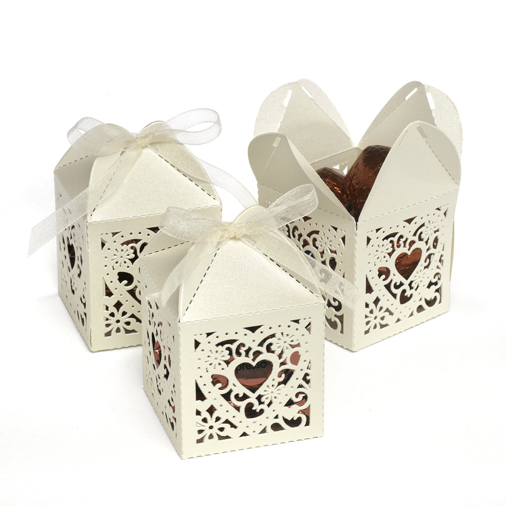 Ivory Ornate Heart Decorative Favor Box (Set of 25)
