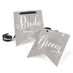 Bride & Groom Charming Vintage Chair Signs (Set of 2)