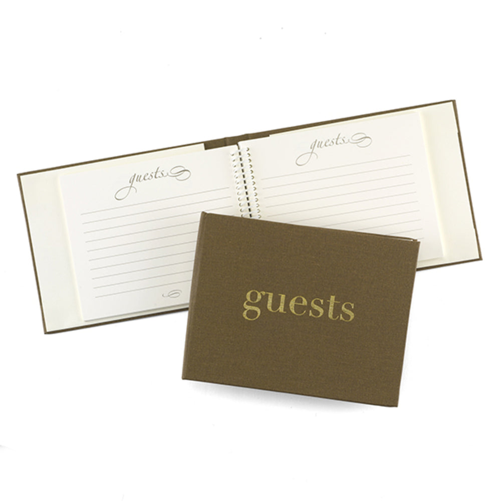 Load image into Gallery viewer, Golden Linen Guest Book